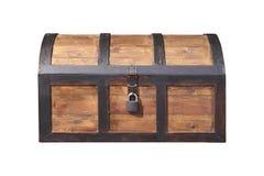 Εκλεκτής ποιότητας ξύλινο στήθος τη βασική κλειδαριά που απομονώνεται με στοκ εικόνες με δικαίωμα ελεύθερης χρήσης