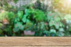 Εκλεκτής ποιότητας ξύλινο tabletop στο θολωμένο πράσινο υπόβαθρο κήπων Στοκ φωτογραφία με δικαίωμα ελεύθερης χρήσης