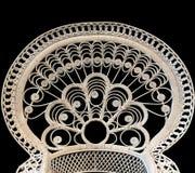 Εκλεκτής ποιότητας πίσω μέρος της καρέκλας που απομονώνεται, μαύρο υπόβαθρο Στοκ φωτογραφίες με δικαίωμα ελεύθερης χρήσης