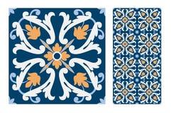 Εκλεκτής ποιότητας παλαιά πορτογαλικά άνευ ραφής κεραμίδια σχεδίων σχεδίου στη διανυσματική απεικόνιση Στοκ εικόνα με δικαίωμα ελεύθερης χρήσης