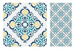 Εκλεκτής ποιότητας παλαιά πορτογαλικά άνευ ραφής κεραμίδια σχεδίων σχεδίου στη διανυσματική απεικόνιση Στοκ Εικόνα