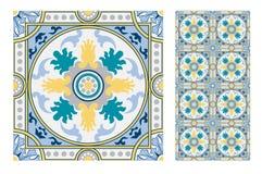 Εκλεκτής ποιότητας παλαιά πορτογαλικά άνευ ραφής κεραμίδια σχεδίων σχεδίου στη διανυσματική απεικόνιση Στοκ εικόνες με δικαίωμα ελεύθερης χρήσης