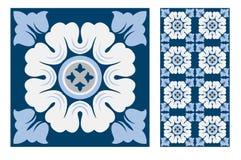 Εκλεκτής ποιότητας παλαιά πορτογαλικά άνευ ραφής κεραμίδια σχεδίων σχεδίου στη διανυσματική απεικόνιση Στοκ φωτογραφίες με δικαίωμα ελεύθερης χρήσης