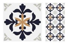 Εκλεκτής ποιότητας παλαιά πορτογαλικά άνευ ραφής κεραμίδια σχεδίων σχεδίου στη διανυσματική απεικόνιση Στοκ Φωτογραφία