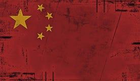 Εκλεκτής ποιότητας παλαιά σημαία της Κίνας Χρωματισμένη εθνική σημαία της Κίνας τέχνης σύσταση ελεύθερη απεικόνιση δικαιώματος