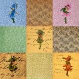 Εκλεκτής ποιότητας παλαιό έγγραφο συλλογής κοριτσιών λουλουδιών Στοκ Εικόνα