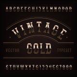 Εκλεκτής ποιότητας πηγή αλφάβητου Χρυσοί περίκομψοι επιστολές και αριθμοί Στοκ φωτογραφία με δικαίωμα ελεύθερης χρήσης