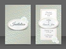 Εκλεκτής ποιότητας πρότυπα γαμήλιας πρόσκλησης Σχέδιο κάλυψης με τη χρυσή διακόσμηση φύλλων Στοκ Φωτογραφία