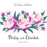 Εκλεκτής ποιότητας πρότυπο γαμήλιας πρόσκλησης με τα peonies Στοκ Εικόνες