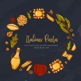 Εκλεκτής ποιότητας πρότυπο επιλογών για το σχέδιο φυλλάδιων στο ύφος σκίτσων Εύγευστο ιταλικό γεύμα εστιατορίων Υπόβαθρο τροφίμων διανυσματική απεικόνιση