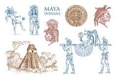 Εκλεκτής ποιότητας πυραμίδα της Maya, πορτρέτο ενός ατόμου, παραδοσιακό κοστούμι, ημερολόγιο και διακόσμηση στο κεφάλι Εγγενής τω διανυσματική απεικόνιση