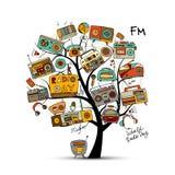 Εκλεκτής ποιότητας ραδιο δέντρο, σκίτσο για το σχέδιό σας Στοκ Εικόνες