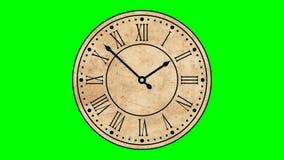 Εκλεκτής ποιότητας ρωμαϊκοί αριθμοί 60 ρολογιών 2$α απομονωμένη πράσινη οθόνη βρόχων ζωτικότητας fps ελεύθερη απεικόνιση δικαιώματος