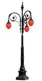 Εκλεκτής ποιότητας σίδηρος lamppost το κόκκινο φως που απομονώνεται με στο λευκό Στοκ Φωτογραφίες