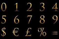 Εκλεκτής ποιότητας σειρά κειμένων λέξης επιστολών πηγών κίτρινη χρυσή μεταλλική αριθμητική με το ευρώ, δολάριο, τοις εκατό, ίσος, Στοκ εικόνες με δικαίωμα ελεύθερης χρήσης