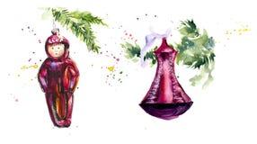 Εκλεκτής ποιότητας σοβιετικά παιχνίδια Χρωματισμένη χέρι απεικόνιση Watercolor διανυσματική απεικόνιση