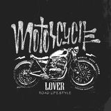 Εκλεκτής ποιότητας συρμένη χέρι διανυσματική μπλούζα μοτοσικλετών Στοκ Εικόνα