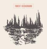 Εκλεκτής ποιότητας συρμένο δάσος σκίτσο έλατου καταρρακτών ποταμών Στοκ φωτογραφίες με δικαίωμα ελεύθερης χρήσης