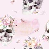 Εκλεκτής ποιότητας σχέδια watercolor με το κρανίο και τα τριαντάφυλλα, wildflowers, συρμένη χέρι απεικόνιση στο ύφος boho Floral  Στοκ Εικόνα