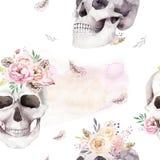 Εκλεκτής ποιότητας σχέδια watercolor με το κρανίο και τα τριαντάφυλλα, wildflowers, συρμένη χέρι απεικόνιση στο ύφος boho Floral  Στοκ Εικόνες