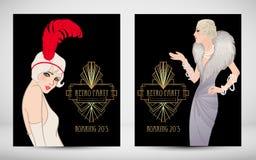Εκλεκτής ποιότητας σχέδιο προτύπων πρόσκλησης του Art Deco με την απεικόνιση Στοκ εικόνες με δικαίωμα ελεύθερης χρήσης