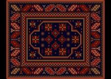 Εκλεκτής ποιότητας τάπητας με την εθνική διακόσμηση burgundy και τα σκούρο μπλε χρώματα Στοκ Εικόνες