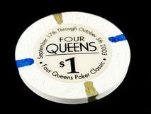 Εκλεκτής ποιότητας τέσσερις βασίλισσες Hotel & Casino $1 τσιπ πόκερ Στοκ Εικόνες