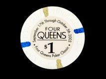 Εκλεκτής ποιότητας τέσσερις βασίλισσες Hotel & Casino $1 τσιπ πόκερ Στοκ εικόνα με δικαίωμα ελεύθερης χρήσης