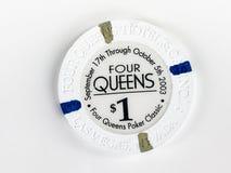 Εκλεκτής ποιότητας τέσσερις βασίλισσες Hotel & Casino $1 τσιπ πόκερ Στοκ φωτογραφίες με δικαίωμα ελεύθερης χρήσης
