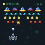 Εκλεκτής ποιότητας τηλεοπτικό διαστημικό arcade σχέδιο εικονοκυττάρου παιχνιδιών διανυσματικό με τις σφαίρες και τους αλλοδαπούς  Στοκ Φωτογραφία