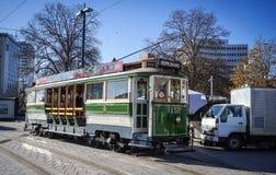 Εκλεκτής ποιότητας τραμ ύφους στην τροχιοδρομική γραμμή Christchurch Στοκ φωτογραφία με δικαίωμα ελεύθερης χρήσης