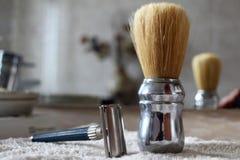 Εκλεκτής ποιότητας υγρά εργαλεία ξυρίσματος Στοκ Φωτογραφίες