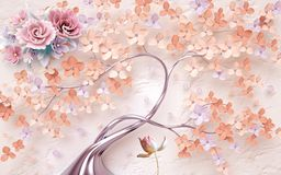 Εκλεκτής ποιότητας υπόβαθρο με τα λουλούδια απεικόνιση αποθεμάτων