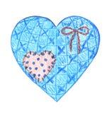 Εκλεκτής ποιότητας υφαντική καρδιά με ένα χαριτωμένο μπάλωμα και ένα τόξο σχοινιών ελεύθερη απεικόνιση δικαιώματος