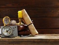 Εκλεκτής ποιότητας χάρτης, πυξίδα, πιό magnifier στοκ φωτογραφία με δικαίωμα ελεύθερης χρήσης