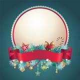 Εκλεκτής ποιότητας Χριστούγεννα γύρω από το έμβλημα χαιρετισμού Στοκ Εικόνα