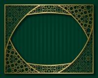 Εκλεκτής ποιότητας χρυσό πλαίσιο στο ασιατικό ύφος Ετικέτα, πινακίδα ή πρότυπο υποβάθρου ευχετήριων καρτών Στοκ Φωτογραφία