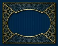 Εκλεκτής ποιότητας χρυσό πλαίσιο στο ασιατικό ύφος Κάλυψη φυλλάδιων, πινακίδα ή πρότυπο υποβάθρου ευχετήριων καρτών Στοκ Εικόνες