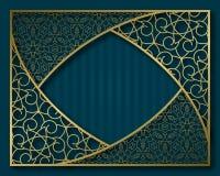 Εκλεκτής ποιότητας χρυσό πλαίσιο στο ασιατικό ύφος Κάλυψη φυλλάδιων, πινακίδα ή πρότυπο υποβάθρου ευχετήριων καρτών Στοκ Εικόνα