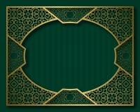 Εκλεκτής ποιότητας χρυσό πλαίσιο στο ασιατικό ύφος Σύντομο χρονογράφημα, πινακίδα ή πρότυπο υποβάθρου ευχετήριων καρτών Στοκ Εικόνες