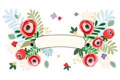 Εκλεκτής ποιότητας ύφος χρώματος κρητιδογραφιών εμβλημάτων κορδελλών λουλουδιών επίσης corel σύρετε το διάνυσμα απεικόνισης Καλοκ Στοκ εικόνα με δικαίωμα ελεύθερης χρήσης
