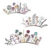 Εκλεκτής ποιότητας floral οριζόντια σύνορα Λουλούδια λιβαδιών Doodle, χλόη, χορτάρια ελεύθερη απεικόνιση δικαιώματος