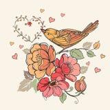 Εκλεκτής ποιότητας floral σχέδιο με τις καρδιές και τα πουλιά επίσης corel σύρετε το διάνυσμα απεικόνισης Στοκ Εικόνα