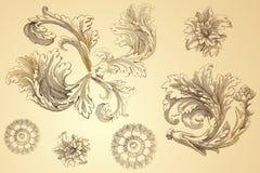 Εκλεκτής ποιότητας floral σχέδια χάραξης Στοκ Εικόνες