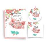 Εκλεκτής ποιότητας Floral χαριτωμένη ζωική κάρτα στο ύφος watercolor ελεύθερη απεικόνιση δικαιώματος