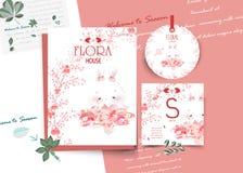 Εκλεκτής ποιότητας Floral χαριτωμένη ζωική κάρτα στο ύφος watercolor στοκ εικόνα με δικαίωμα ελεύθερης χρήσης