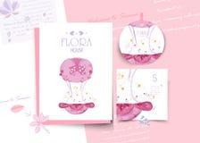Εκλεκτής ποιότητας Floral χαριτωμένη ζωική κάρτα στο ύφος watercolor στοκ εικόνες με δικαίωμα ελεύθερης χρήσης