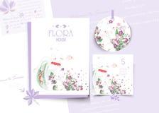 Εκλεκτής ποιότητας Floral χαριτωμένη ζωική κάρτα στο ύφος watercolor στοκ φωτογραφίες