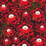 Εκλεκτής ποιότητας shabby κομψό άνευ ραφής σχέδιο με τα κόκκινα πορτοκαλιά λουλούδια και τα φύλλα στο μαύρο υπόβαθρο ρομαντική δι ελεύθερη απεικόνιση δικαιώματος