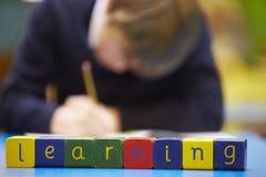 Εκμάθηση λέξης που συλλαβίζουν στους ξύλινους φραγμούς με το μαθητή πίσω Στοκ Εικόνες